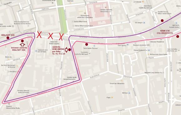Obchádzková trasa autobusových liniek medzi zastávkami Námestie osloboditeľov – Krajský súd