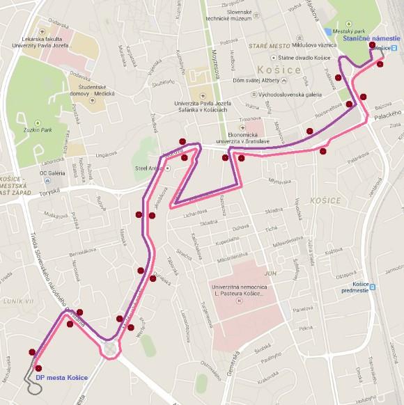 Trasa náhradnej autobusovej linky x6