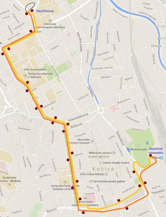 Trasa náhradnej autobusovej linky x7