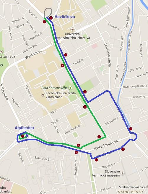 Trasa náhradnej autobusovej linky x96