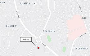 SCONTO Nábytok Košice - Lokalita
