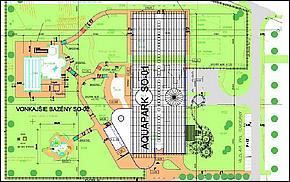Pôdorysné riešenie AQUAPARKU, Wellness a hotelového komplexu, Kechnec