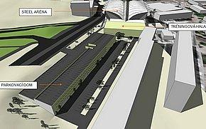 Vizualizácia - Tréningová hala a parkovací dom - Steel Aréna